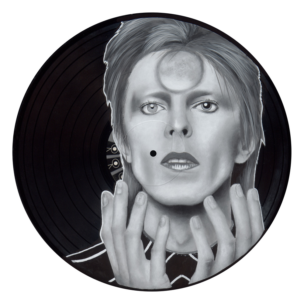 "Ziggy Stardust (2015)  Spray paint and acrylic on vinyl   12"" x 12"""