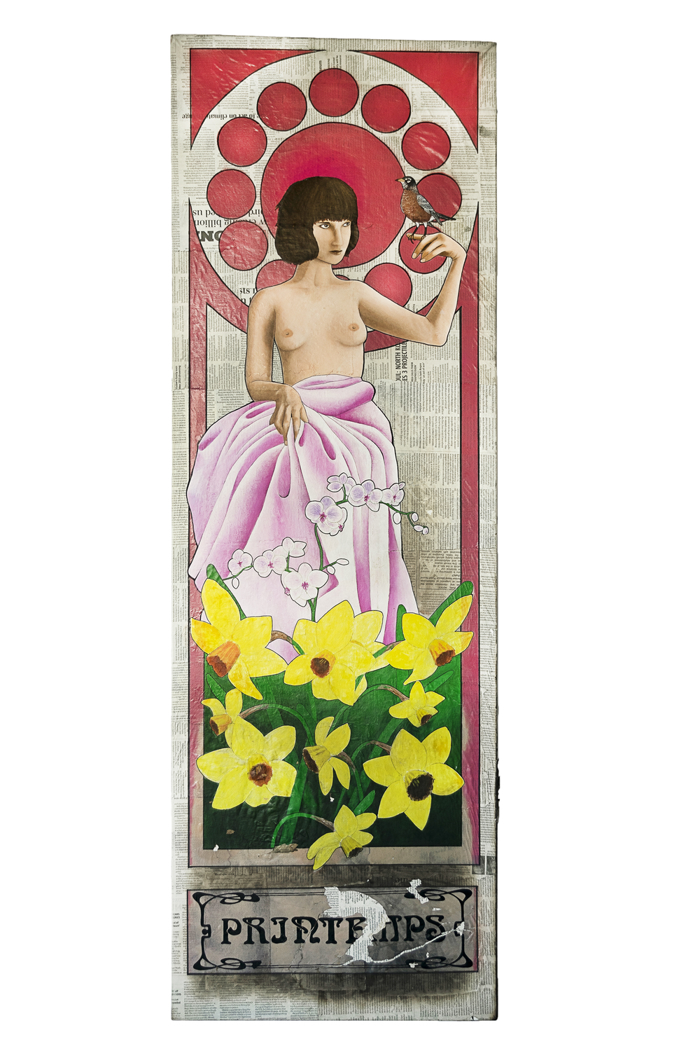 """Printemps (2014, Repaired in 2016)  1 of 4  Les Saisons Des Incendies   Acrylic and Sharpie on newsprint and canvas  20"""" x 60""""  Private Collection"""