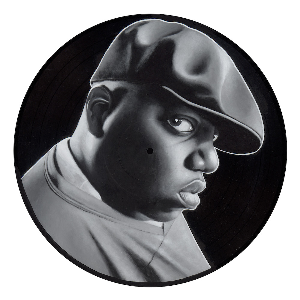 "Notorious , 2015  Spray Paint and Acrylic on Vinyl  12"" x 12"""