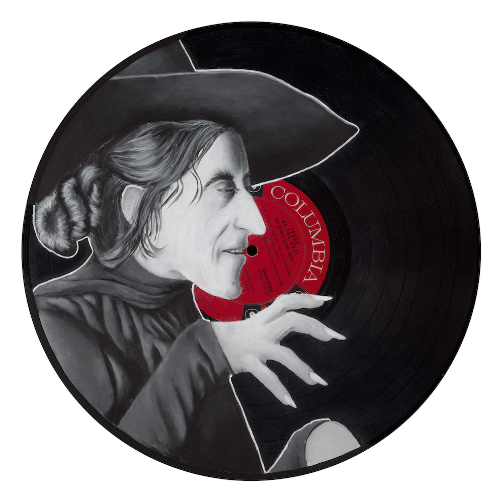 "The Witch , 2015  Spray Paint and Acrylic on Vinyl  12"" x 12"""