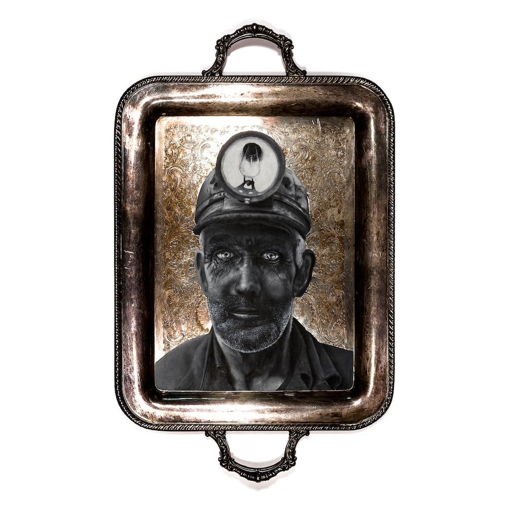 "Miner , 2015  Acrylic on Silver Plate  14 1/2"" x 18 1/2"""
