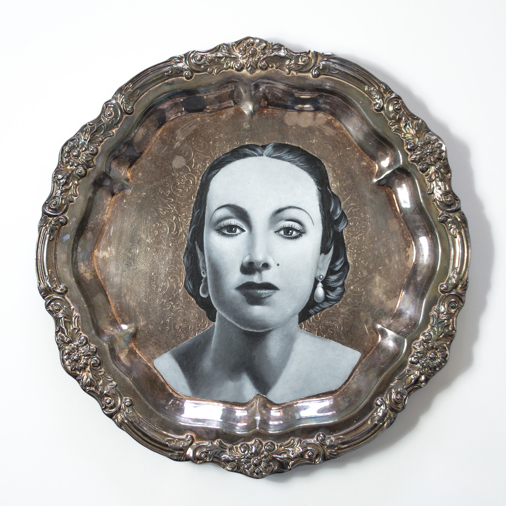"Dolores , 2015  Acrylic on Silver Plate  14"" x 14"""
