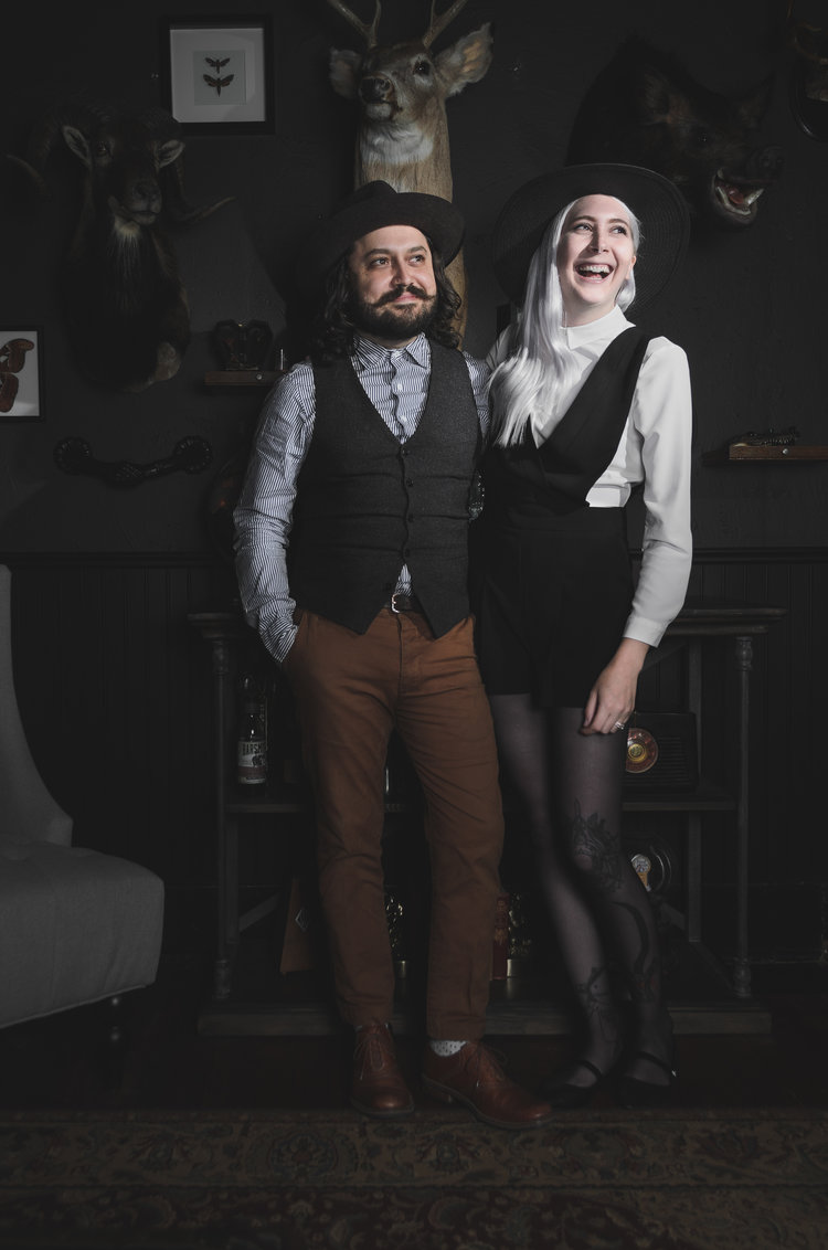 Joshua and Kayleen Harvey of  The Sneerwell , Denver-based custom flask makers