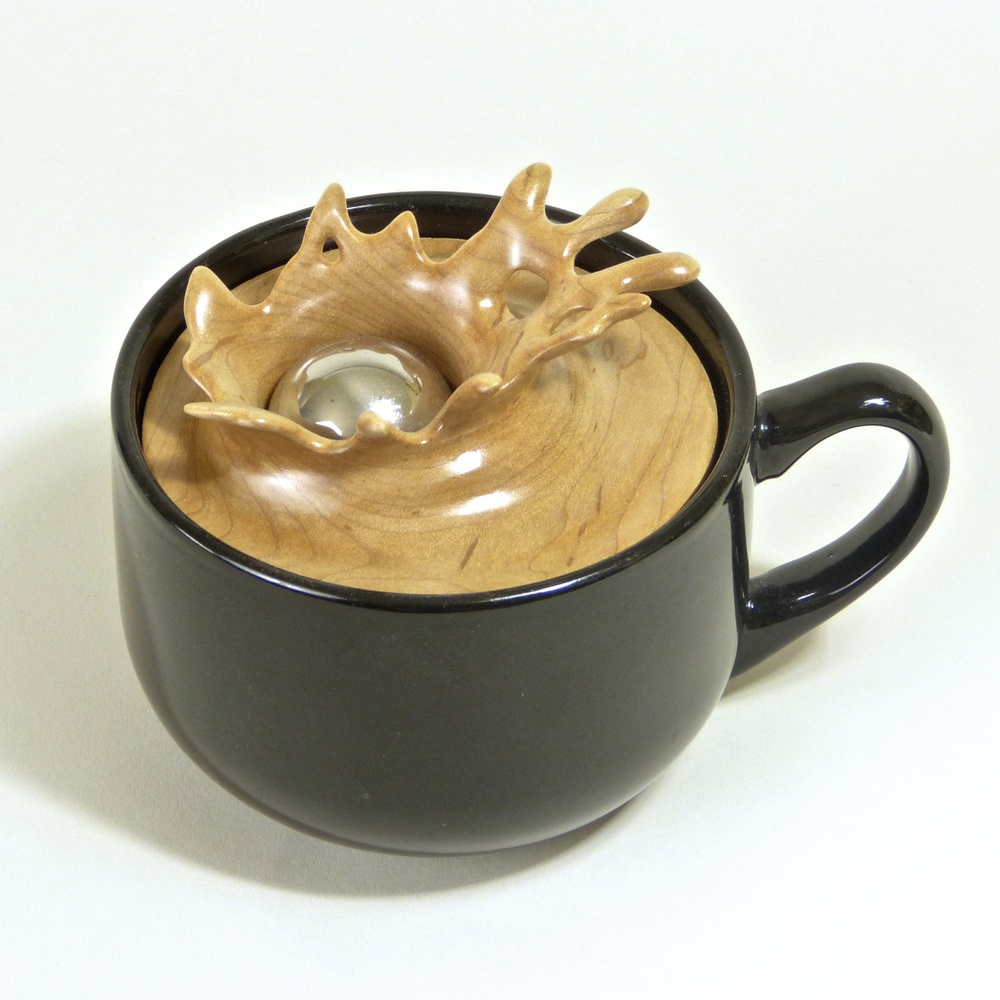 "Splash Series #2  6.5""W x 5""D x 4.75""H  Maple, Stainless Steel, Ceramic Cup.  SOLD"