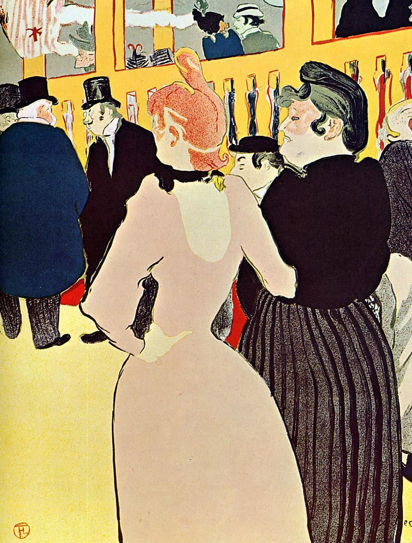 At the Moulin Rouge La Goulue with Her Sister   by Henri de  Toulouse-Lautrec