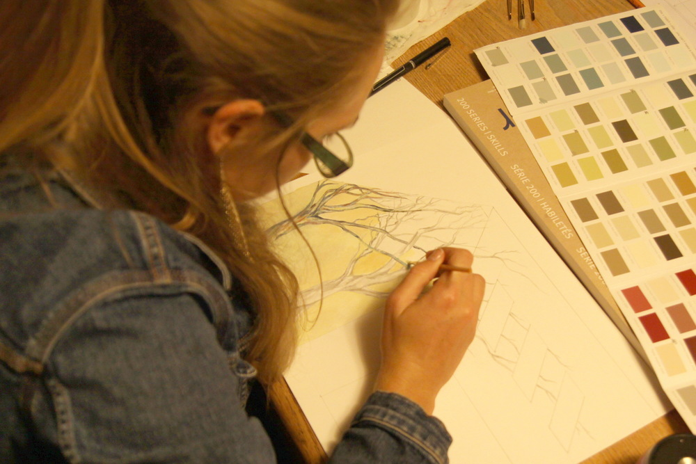 Artist At Work- Mural Design for Carmel Valley House