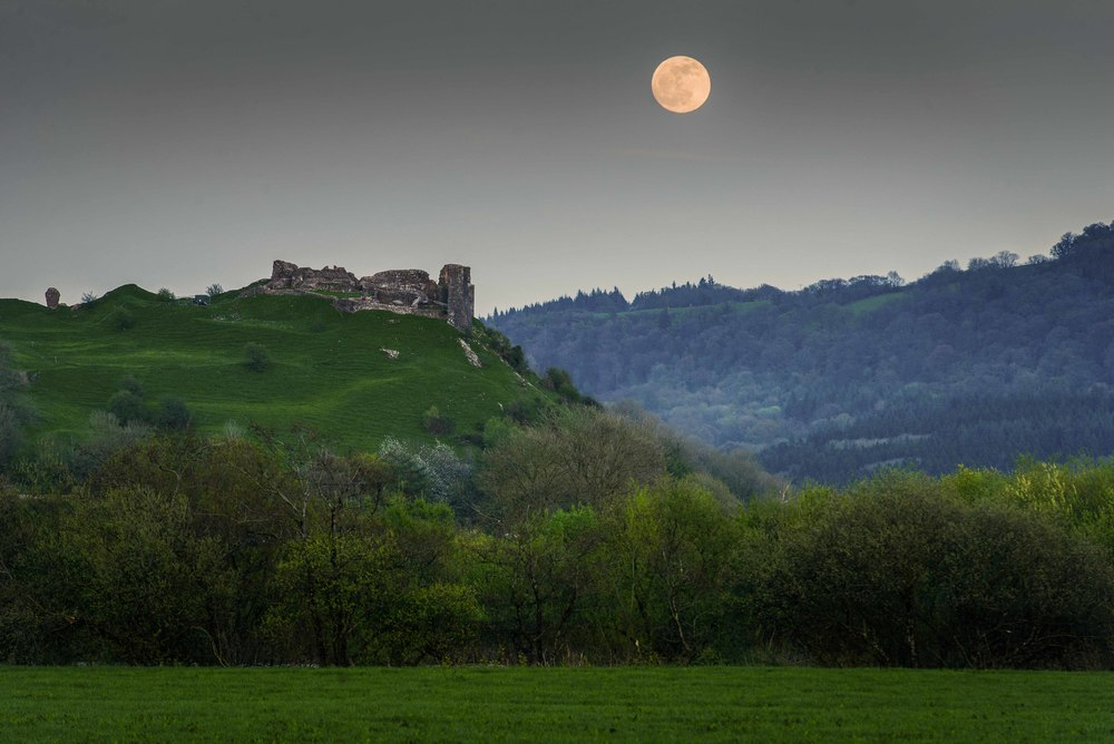 Moon rising over Dryslwyn Castle earlier this year.