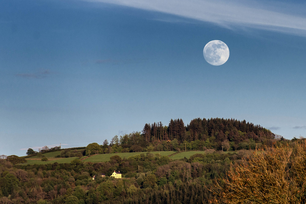 Full Moon in the daytime over the Towy Valley, Carmarthenshire.