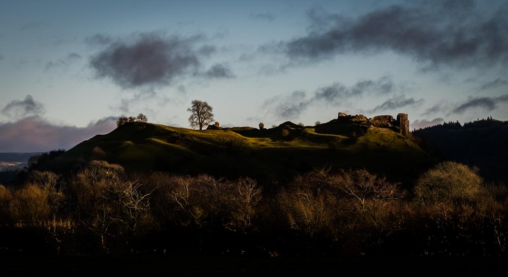Dryslwyn Castle in the late winter sun