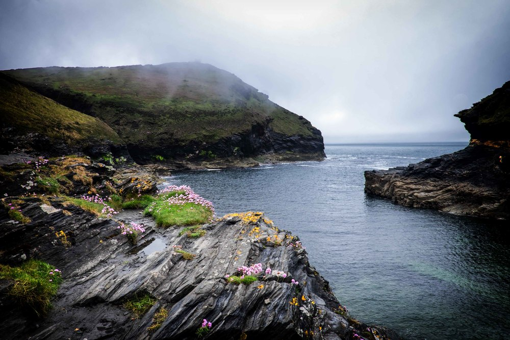 boscastle harbour entrance covered in sea mist