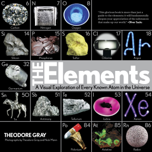 The Elements A Visual Exploration of Every Known Atom in the Universe Theodore Gray Photographs by Theodore Gray and Nick Mann An eye-opening, original collection of gorgeous, never-before-seen photographic representations of the 118 elements in the periodic table. The Elements has become an international sensation, with over one million copies in-print worldwide.