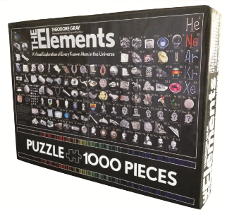 The Elements Puzzle 1,000 Pieces Theodore Gray Photographs by Theodore Gray and Nick Mann This gorgeous and challenging 1000-piece jigsaw puzzle of Theodore Gray's photographic periodic table is based on the bestseller, The Elements.