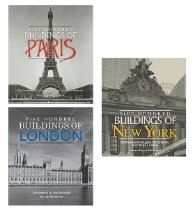Five Hundred Buildings of Paris Five Hundred Buildings of London Five Hundred Buildings of New York Five hundred stunning duotone photographs showcase the finest, most majestic, and interesting examples of architecture in three of the world's beloved cities.