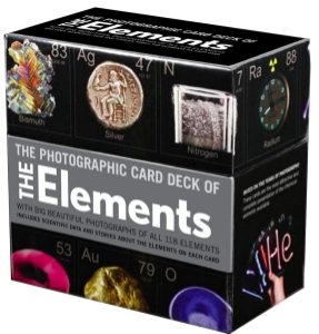 The Photographic Card Deck of The Elements With Big Beautiful Photographs of All 118 Elements in the Periodic Table Theodore Gray A companion to the bestselling book The Elements: A Visual Exploration of Every Known Atom in the Universe, this beautiful photographic card deck features all 118 elements in the periodic table. One element per card appears as a full-size image on the front and fascinating information about the element on the back.