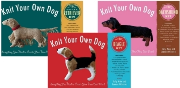 Knit Your Own Dog: Beagle, Golden Retriever, and Dachshund Kits Everything You Need to Create Your New Best Friend Sally Muir and Joanna Osborne From the authors of the beloved Knit Your Own series come three ingenious kits that contain everything you need to make your own knitted pooch, including yarn, needles, stuffing, and accessories in one handy box.