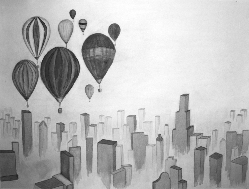 Balloons Over Chicago, Inkwash, 2011