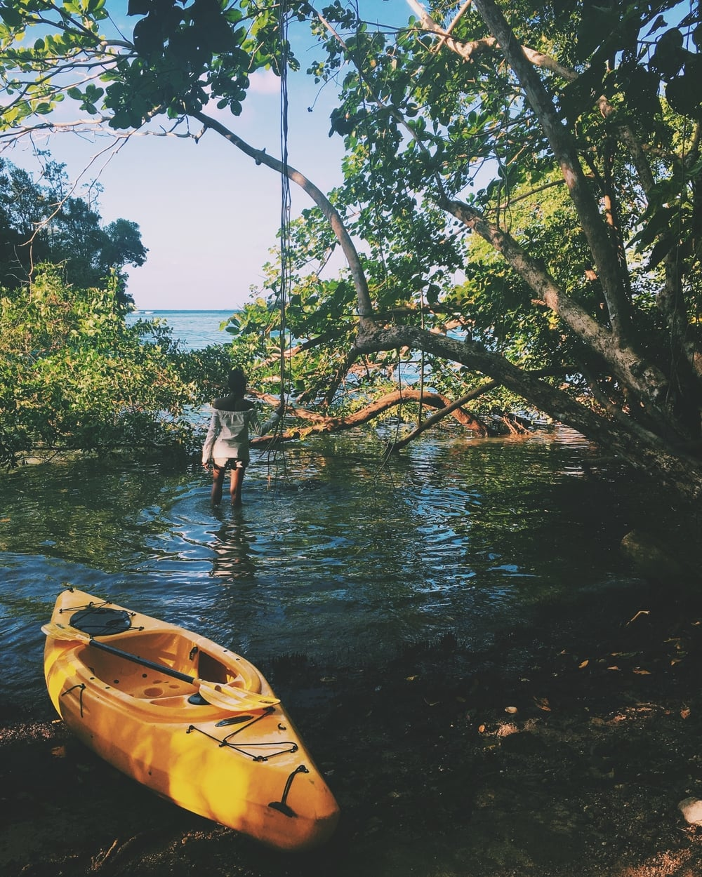 Canoeing near the Blue Lagoon, Portland parish, Jamaica