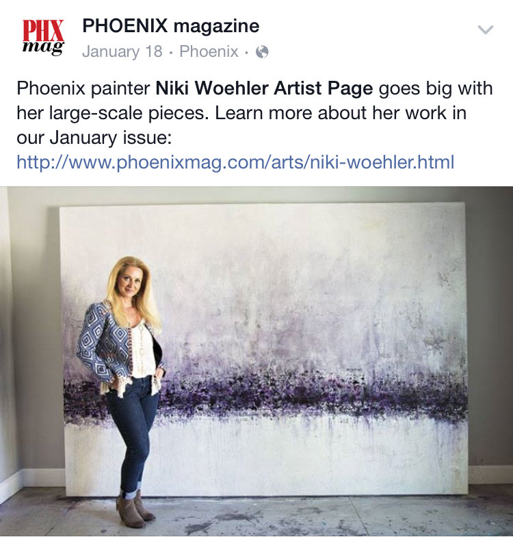 Phoenix Magazine | Niki Woehler large scale abstract artwork