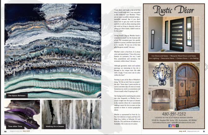 Arizona Magazine May 2018 - Niki Woehler featured large wall art panels