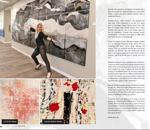 Arizona Magazine May 2018 - Niki Woehler featured large wall art panels CBRE commissioned piece