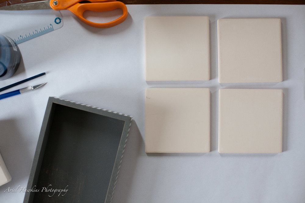 Get all of your supplies ready to go by cleaning everything and making sure your surfaces are ready to apply the Mod Podge and or paint if you are creating a custom coaster holder as well.