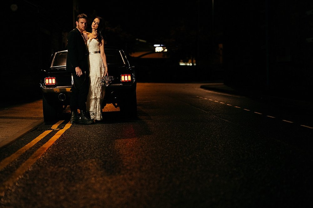 night time couple portrait urban wedding photos