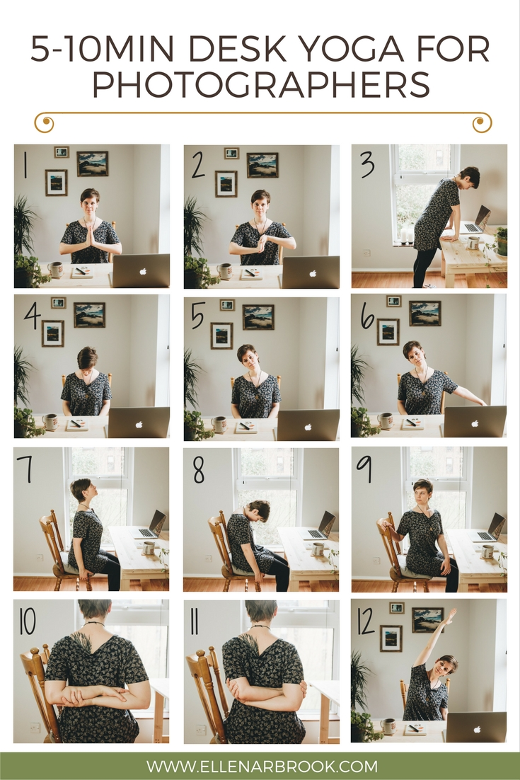 Here's the full desk yoga sequence.  Keep scrolling for instructions regarding individual poses!