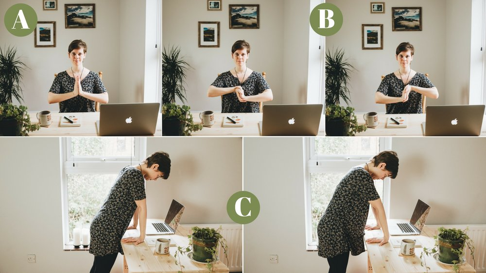 desk yoga for wrists for photographers