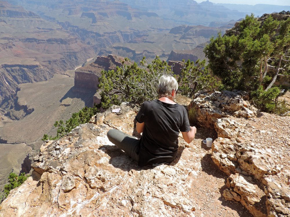 At the bright edge of the world, making molds of textured limestone on the rim of the Grand Canyon, Arizona.