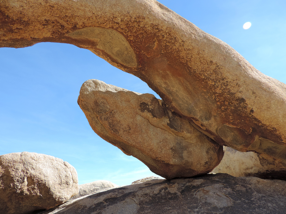 Arch Rock, Joshua Tree National Park, California.  I've made several molds and pieces on top of this graceful limb of granite.