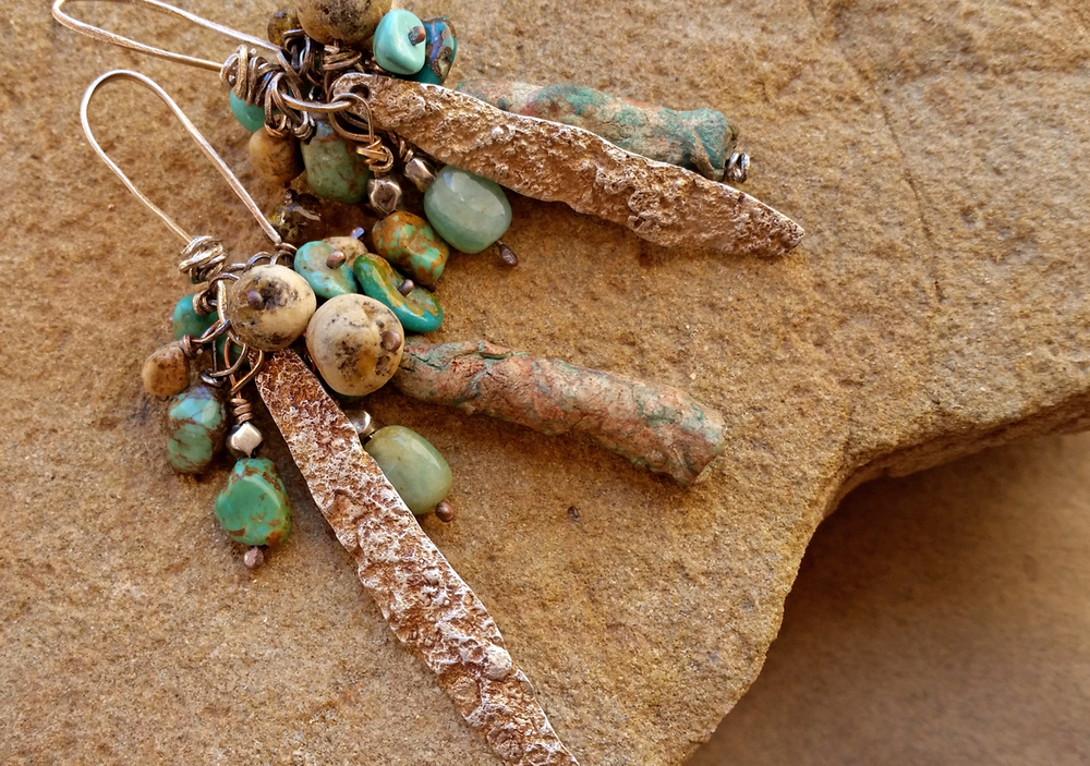 On the Rim earrings with fine silver and turquoise.