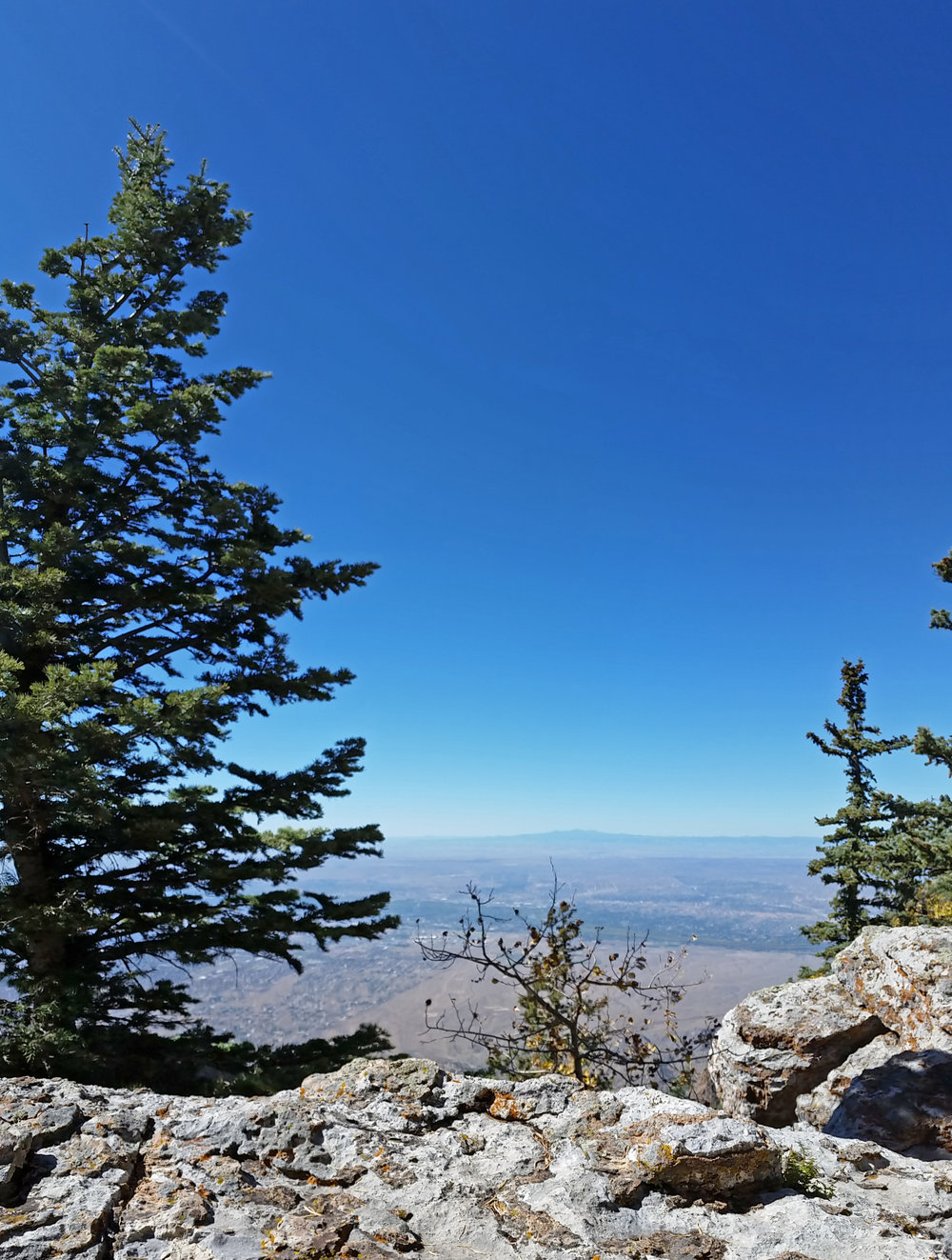 Here is my view from 10,600 feet up, atop the Sandia Crest overlooking Albuquerque and the Rio Grande.  Far out on the western horizon, the San Mateos float like a vision.