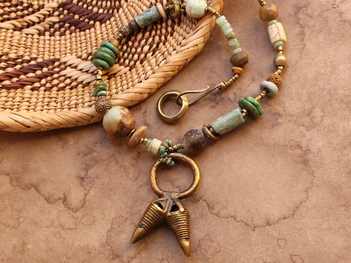 African tribal style necklace ancient african and mexican stone african tribal style necklace ancient african and mexican stone beads antique beads dogon brass ring fertility and abundance designer jewelry aloadofball Choice Image