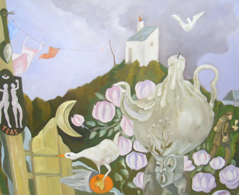 Painting for Paula. Here the washing includes a pale pink night gown strung on the line. Other familiar elements include the tea pot (morphing into a candle) and a multitude of flower heads.