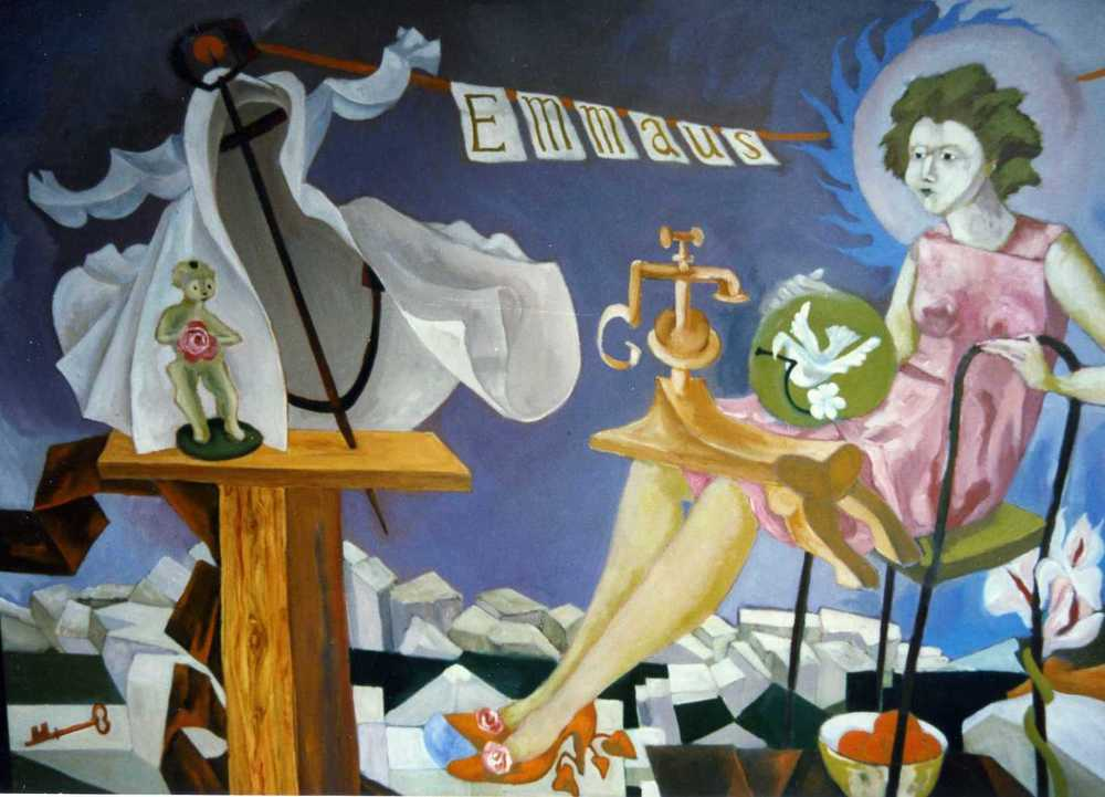 This is one of the panels of the Emmaus mural. A crisp white shirt is hung on an anchor,the top of which holds the line strung with bunting spelling out the charity's name. The coast is another familiar object in the paintings of B S Huntbach. and a subject that will be discussed in future blogs.