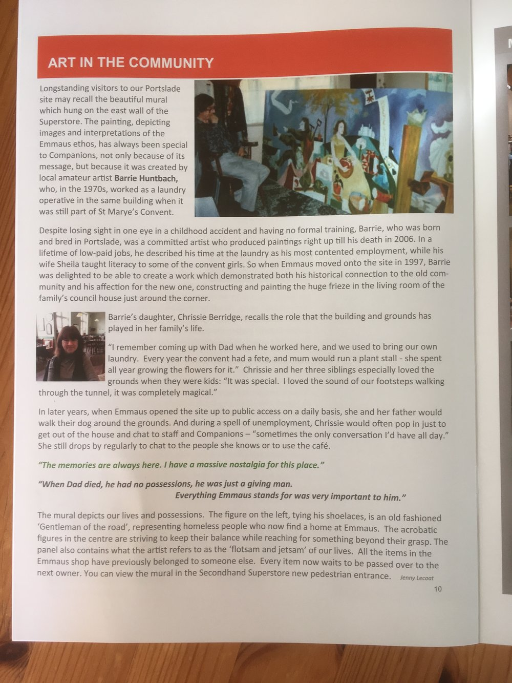 My interview in the Emmaus talking about my father's mural