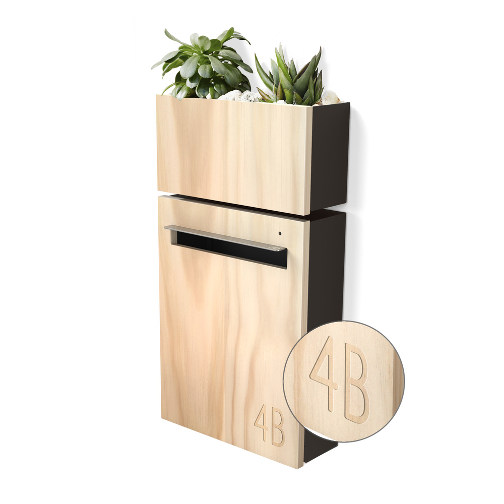 Wall Mount Letterbox + Planter Charcoal - with engraved numbers on engraved stepping stones, engraved frames, engraved tools, engraved mugs, engraved vases, engraved stools, engraved plaques, engraved benches, engraved pavers, engraved platters,