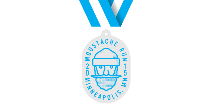 Moustache Run medal finisher 5k 10k half 1/2 marathon kids bunyan paul