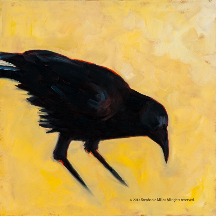 Raven Trio (Part 1)  I love using multiple canvases for works that can be displayed as a group individually. This particular trio can be displayed with this raven on the right or the left. All three of the birds were photos that I took and transformed into paintings.