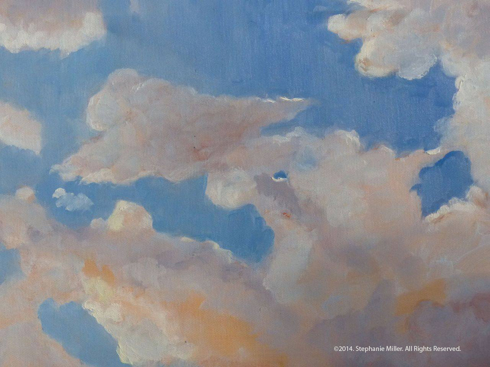 First Clouds  This is the painting that I painted on my first day in my new studio. It was the first time I had painted with oil paint in years. I feel compelled to paint clouds mostly because of the severe drought we are experiencing. I find myself craving water, clouds and most of all rain.