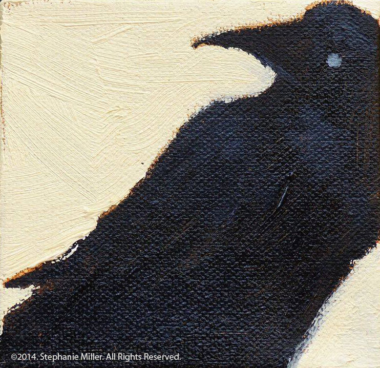 "Raven Turning Oil  on canvas, 4"" x 4"", reproductions available"