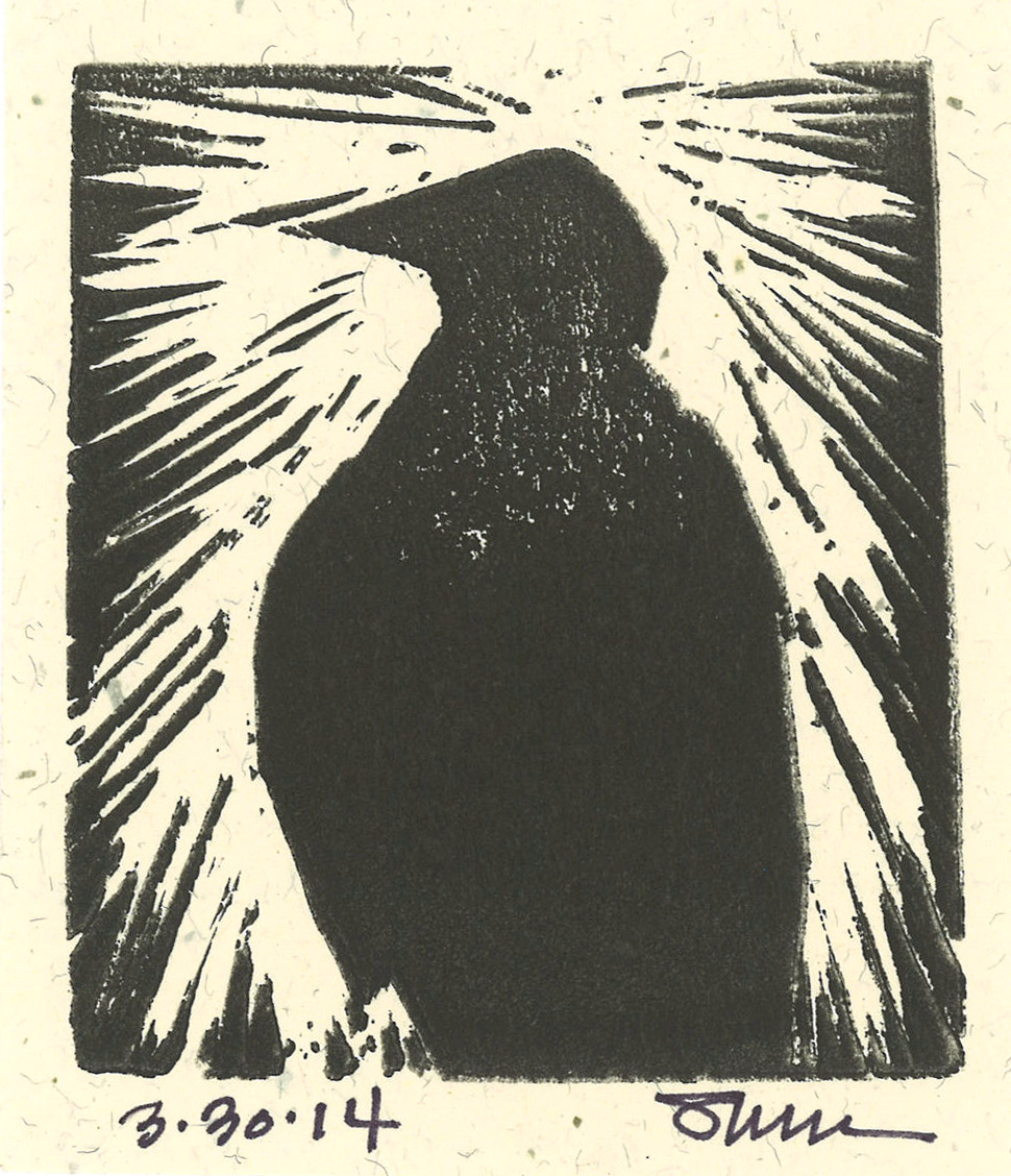 Crow Block Print  I love the cocky attitude of this crow and his upright stance. The more I watch crows and ravens, the more I admire them.