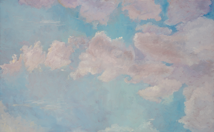 Clouds  This painting is on a large canvas. I experimented with using short brush strokes. I also wanted to have a minimal separation between the value of the sky and the value of the clouds. Like many of my paintings this was another instance in which I wanted to learn.