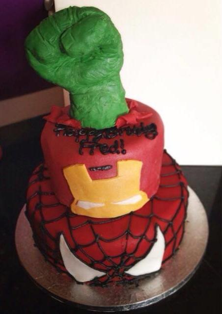 Spiderman, Ironman & Hulk cake