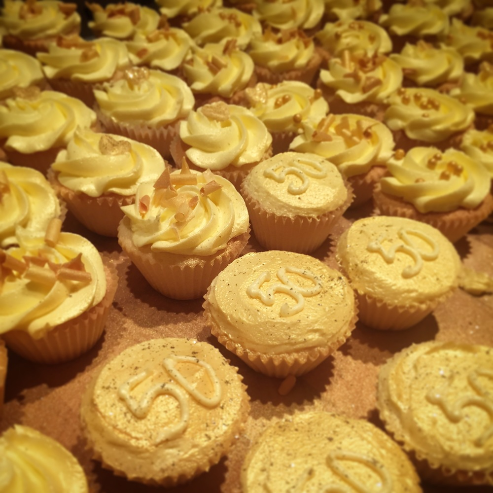Golden Wedding Anniversary Miniature Cupcakes