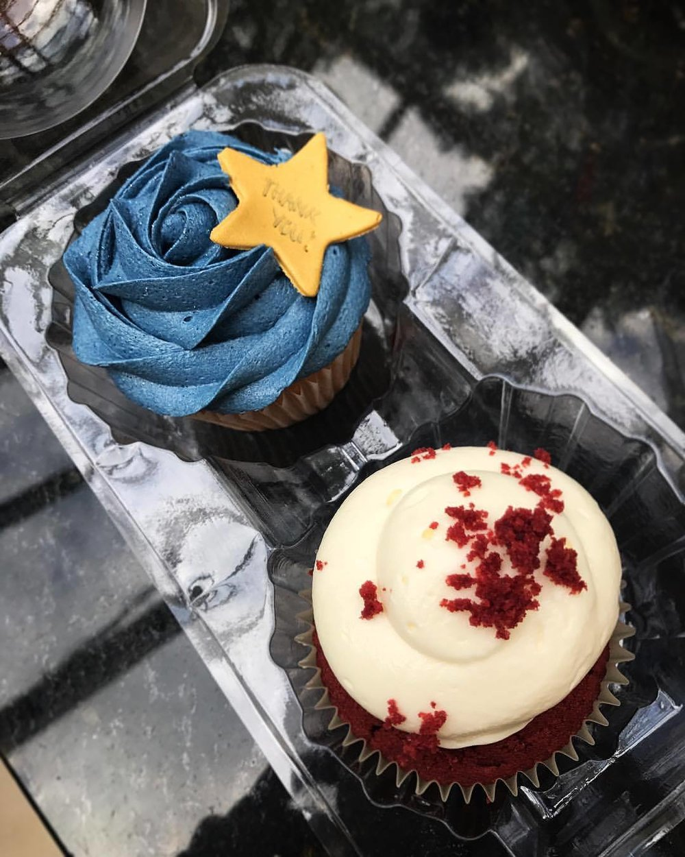 """Gold Star"" Thank you cupcakes."