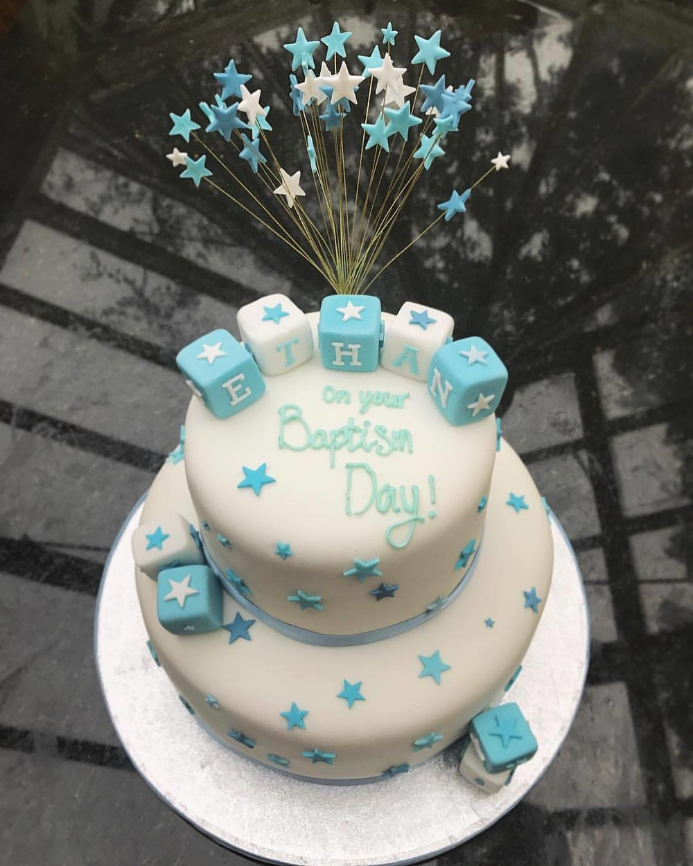 Baptism Cake With Letter Blocks & Starburst.