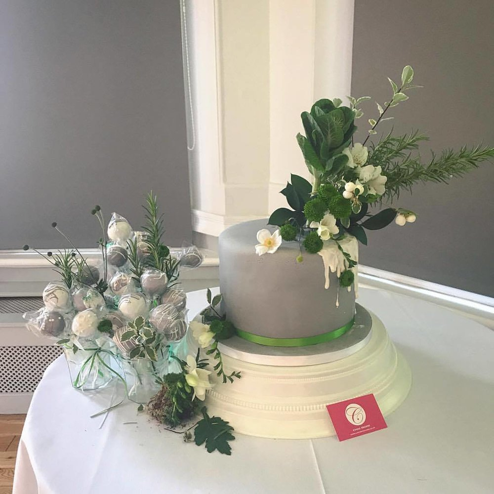 Grey, White, & Green Themed Wedding Cake, With Matching Cake Pops.