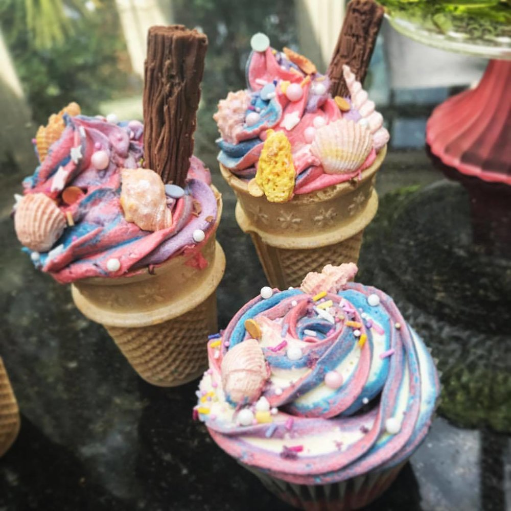 Mermaid Ice Cream Cone Cupcakes.