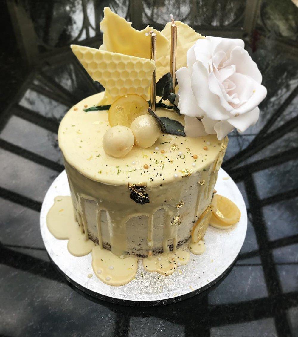 White Chocolate Ganache Drip Cake.